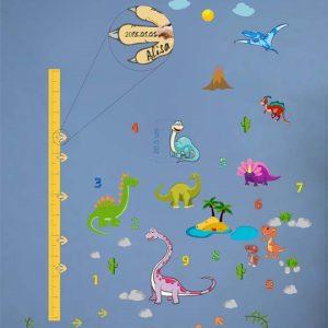Dinozaurų ugio liniuotė vizualizacija, lipdukai vaikams