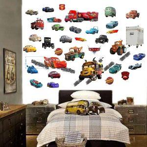"""""""Mašinytės Cars"""" 3D vaikų kambario sienų lipdukai"""