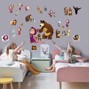 """""""Maša ir lokys"""" 3D Masha and the bear vaikų kambario sienų lipdukai"""