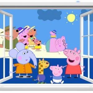 """""""Peppa pig langas"""" 3D vaikų kambario sienų lipdukai"""