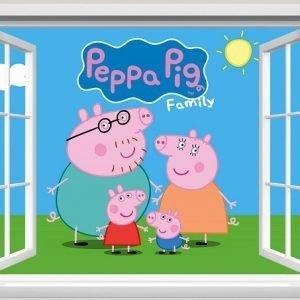 """""""Peppa pig family"""" 3D vaikų kambario sienų lipdukai"""