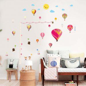 """""""Vaikiška liniuotė ugiui oro balionai"""" 3D vaikų kambario sienų lipdukai"""