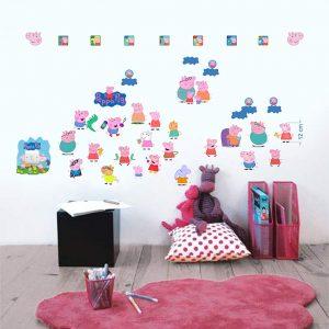 """""""Peppa pig"""" 3D vaikų kambario sienų lipdukai"""