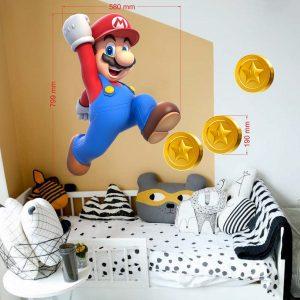 """""""Super Mario monetos"""" 3D vaikų kambario sienų lipdukai"""