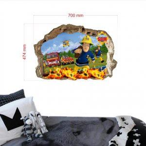 """""""Fireman Sam gaisras"""" 3D vaikų kambario sienų lipdukai"""