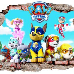 """""""Šunyčiai patruliai"""" 3D Paw patrol vaikų kambario sienų lipdukai"""