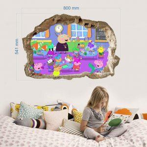 """""""Peppa pig mokykla"""" 3D vaikų kambario sienų lipdukai"""