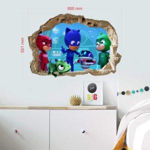 """""""PJ Masks"""" 3D vaikų kambario sienų lipdukai"""