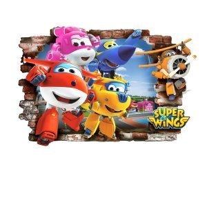 """""""Super Wings"""" 3D vaikų kambario sienų lipdukai"""
