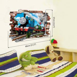 """""""Thomas traukinukas"""" 3D vaikų kambario sienų lipdukai"""