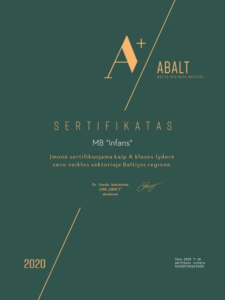 infans sertifikatas