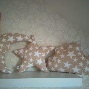 Komplektas vaikams debesėlis,žvaigždutė ir mėnulis pagalvės, travel pagalvėlė